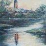 Saint Lubin, reflets d'un soir [Huile sur toile - 65 x 50]