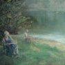 Dessiner au bord de l'eau [Huile - 46 x 61]