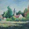 Poigny-la-Forêt, lumière du matin [Acrylique - 50 x 50]