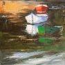 Trois barques [Huile - 46 x 27]
