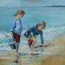 La pêche aux coquillages [Acrylique sur toile - 40 x 40]