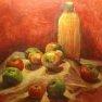 Ambiance rouge-pommes [Acrylique - 40 x 40]