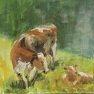 Vache et veau [Esquisse - 20 x 27]